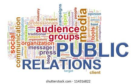 Illustration of public relations wordcloud