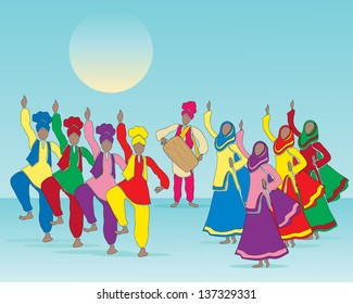 Punjabi culture images stock photos vectors shutterstock an illustration of a punjabi folk dance with men and women in traditional dress and musician malvernweather Images