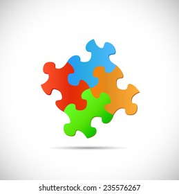 Illustration of puzzle pieces isolated on a white background.