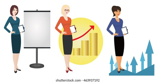 Illustration of a qualified referent  on  white background. Specialist in public relations, PR manager , skilled office employee. Horizontal location.