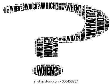 Illustration of question mark in modern word cloud