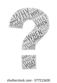 Illustration of question mark sign symbol shape wordcloud tags