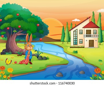 illustration of a rabbit in beautiful nature
