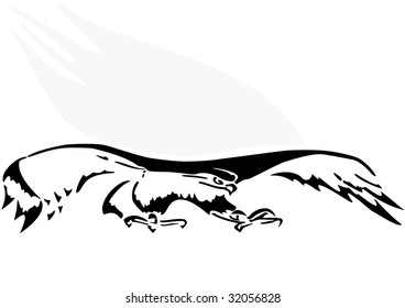 Illustration raster, an eagle in flight on a white background.