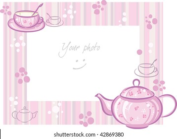 Illustration raster, Frame for photo with pink teapot and cup