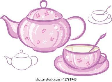 Illustration raster, Pink cup and teapot isolated on white