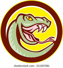 Illustration of a rattle snake viper serpent head facing side on isolated background set inside circle done in cartoon style.