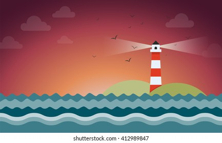 Illustration of rays coming out from lighthouse in night