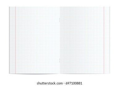 Illustration of realistic blank squared copy book spread isolated on white background