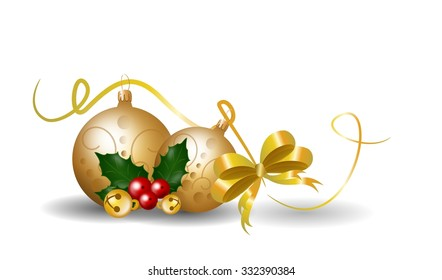 Illustration of realistic christmas decoration with holly and ribbon
