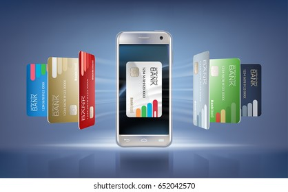 illustration in a realistic style the concept of mobile payments using the application on your smartphone. Illustration of the smartphone and bank cards on an abstract background.