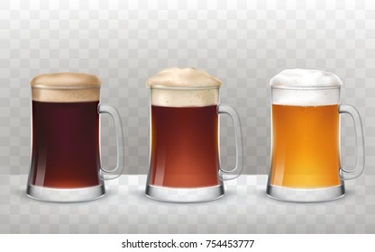 illustration of a realistic style three glass beer mugs with a different types of beer isolated on a transparent background