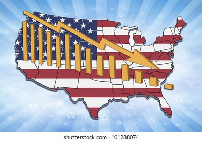 Illustration of recession and declining trends in USA.
