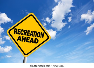 Illustration of recreation ahead sign
