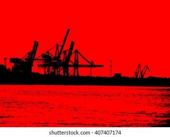 illustration  red black harbour