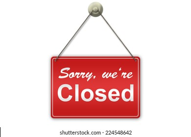 "Illustration of a red ""Closed"" sign isolated on white background"