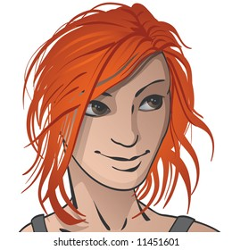 An illustration of a red haired female meant to be an avatar or just a nice picture.