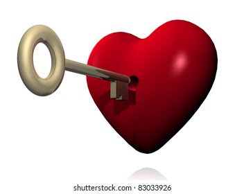 illustration of a red heart with a key of golden color