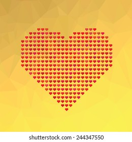 Illustration  with Red Heart Symbol on Yellow Abstract Polygonal Background