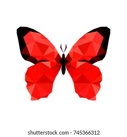 Illustration of red origami butterfly, isolated on white background
