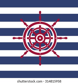 Illustration of a red ship wheel icon on a dark blue and white stripped background./Red Helm Wheel