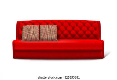 Illustration of red sofa with striped pillows