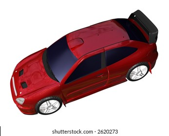 Illustration of a red sports car pictured from top isolated on a white background