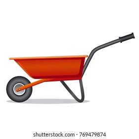 illustration of red wheelbarrow