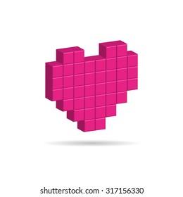 Illustration of red white heart icon in modern flat design. Social network like symbol