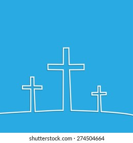 Illustration of religious crosses against a colorful background.