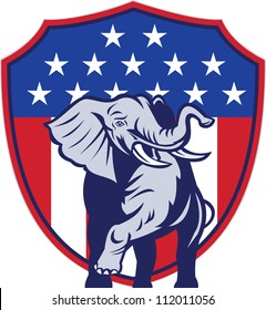 Illustration of a republican elephant mascot with American USA stars and stripes flag shield done in retro style.