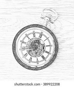 Illustration of retro pocket watc. Time measuring.