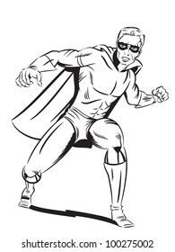 Illustration of a retro style super hero about to punch