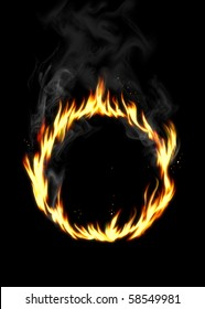 An illustration of ring of fire on black background