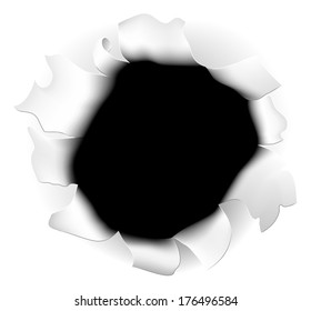 An illustration of a ripped hole in  the white background paper