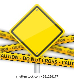 Illustration of Road Yellow Sign with Yellow Police Strip. Realistic Road Sign Isolated