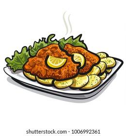 illustration of roasted schnitzel