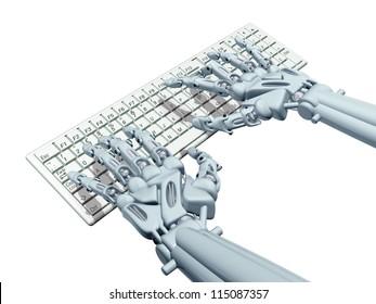 Illustration of a robotic computer operator typing