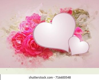 Illustration of romantic background with pink roses and hearts