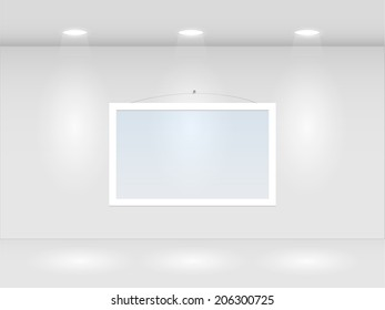 Illustration of a room with lights and hanging frame.