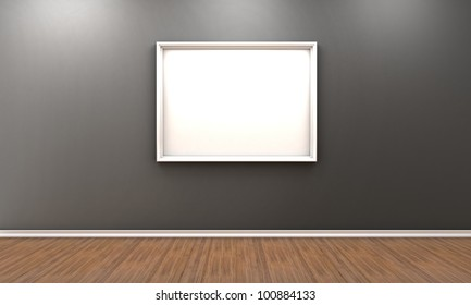 Illustration of a room with a white frame for a picture