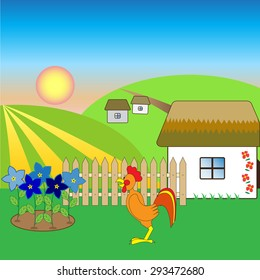 illustration of a rooster in the village