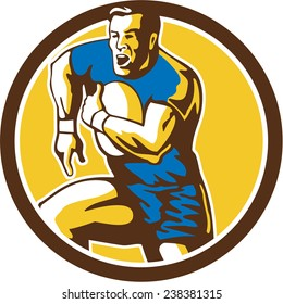 Illustration of a rugby player holding ball running goose steps charging set inside circle on isolated background done in retro style.
