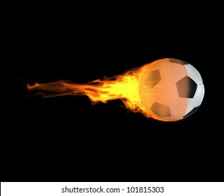 Illustration of the rush in a soccer match. The flying & burning in the fire soccer ball