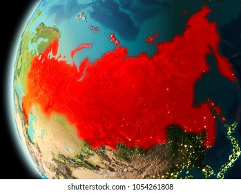 Illustration of Russia as seen from Earthâ??s orbit in late evening. 3D illustration. Elements of this image furnished by NASA.