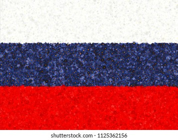 Illustration of a Russian flag with a blossom pattern