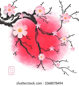 Illustration with sakura branch on a red background. The inscription in Japanese style - Spring.