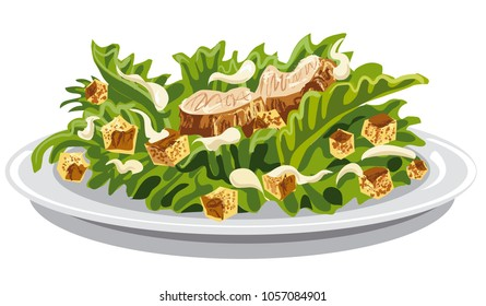 illustration of salad caesar with croutons and mayonnaise