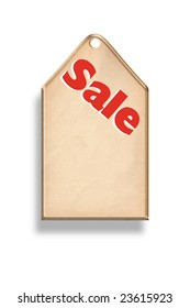 An illustration of a sale tag with shadow