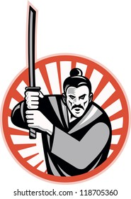 Illustration of a samurai warrior facing front with katana sword set inside circle done in retro style.